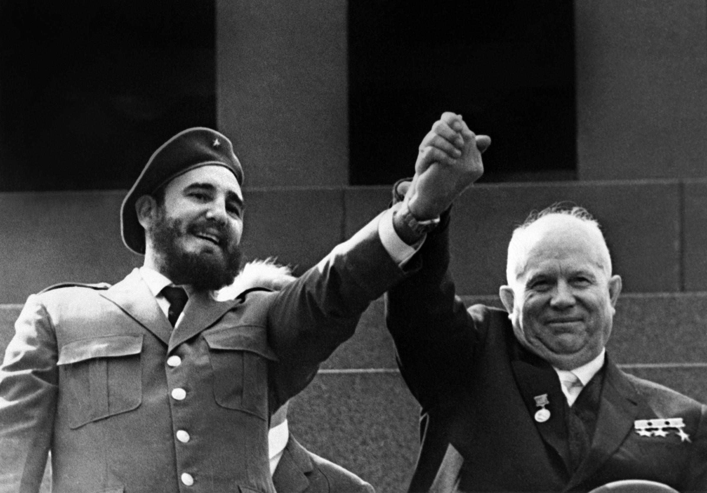 Castro (left) is shown in file photo dated May 1963 holding the hand of Soviet leader Nikita Khrushchev during a four-week official visit to Moscow. Castro resigned on Feb. 19, 2008 as president and commander in chief of Cuba in a message published in the online version of the official daily Granma.